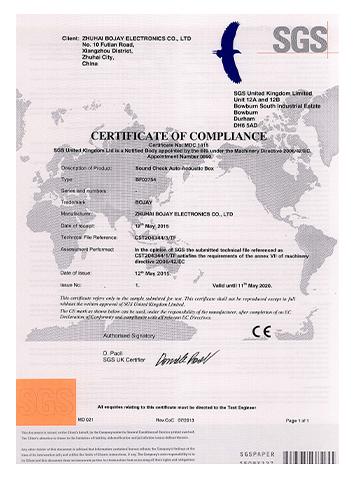 CE of  Sound Check Auto Acoustic Box